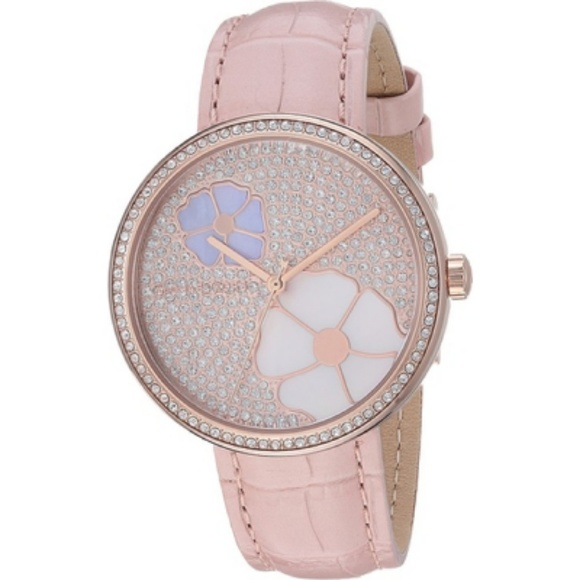 a984d011d689 MK rose gold tone flower face watch